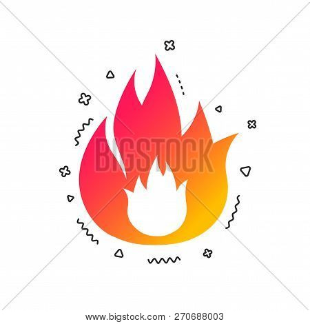 Fire Flame Sign Icon. Fire Symbol. Stop Fire. Escape From Fire. Colorful Geometric Shapes. Gradient
