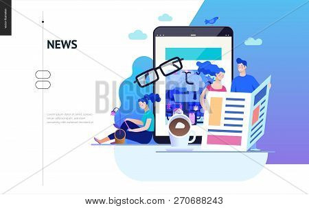 Business Series, Color 2 - News Or Articles- Modern Flat Vector Illustration Concept Of People Readi