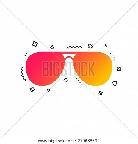 Aviator Sunglasses Sign Icon. Pilot Glasses Button. Colorful Geometric Shapes. Gradient Sunglasses I