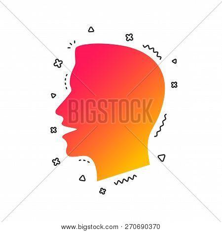Talk Or Speak Icon. Loud Noise Symbol. Human Talking Sign. Colorful Geometric Shapes. Gradient Talk