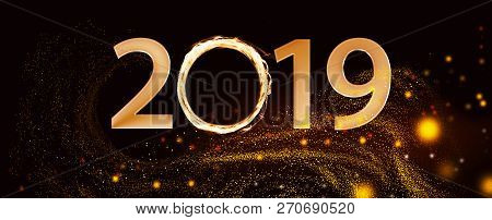 2018 Text Made From Fiery Element Over Black Background With Swirl Sparckles.