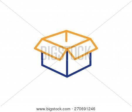 Opened Box Line Icon. Logistics Delivery Sign. Parcels Tracking Symbol. Colorful Outline Concept. Bl
