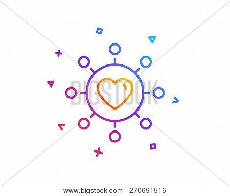 Love Dating Line Icon. Relationships Network Sign. Valentines Day Or Heart Symbol. Gradient Line But