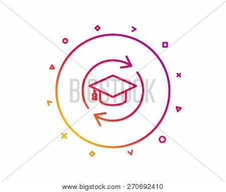 Continuing Education Line Icon. Online Education Sign. Gradient Pattern Line Button. Continuing Educ