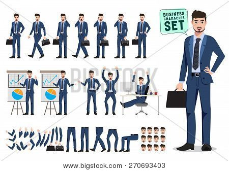Male Business Character Vector Set. Business Man Cartoon Character Creation Set Holding Briefcase An