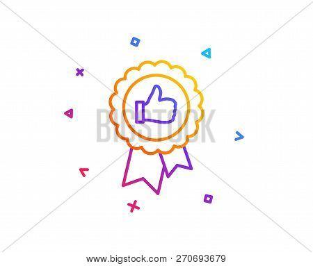 Positive Feedback Line Icon. Award Medal Symbol. Reward Sign. Gradient Line Button. Positive Feedbac