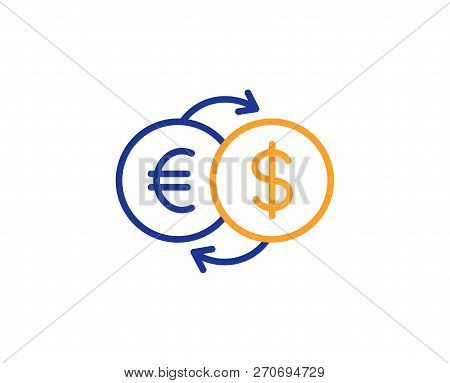 Money Exchange Line Icon. Banking Currency Sign. Euro And Dollar Cash Transfer Symbol. Colorful Outl