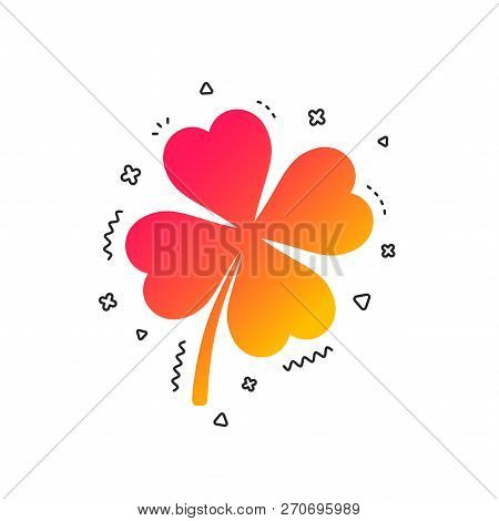 Clover With Four Leaves Sign Icon. Saint Patrick Symbol. Colorful Geometric Shapes. Gradient Clover