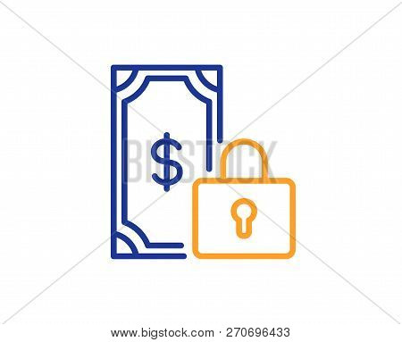 Private Payment Line Icon. Dollar Sign. Finance Symbol. Colorful Outline Concept. Blue And Orange Th