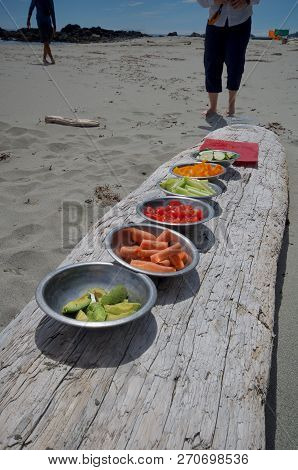 Colourful Bowls Of Vegetables Lined Up On A Log For Lunch On A Kayak Trip To The Brookes Peninsula,