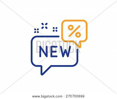 New Discount Line Icon. Sale Shopping Sign. Clearance Symbol. Colorful Outline Concept. Blue And Ora