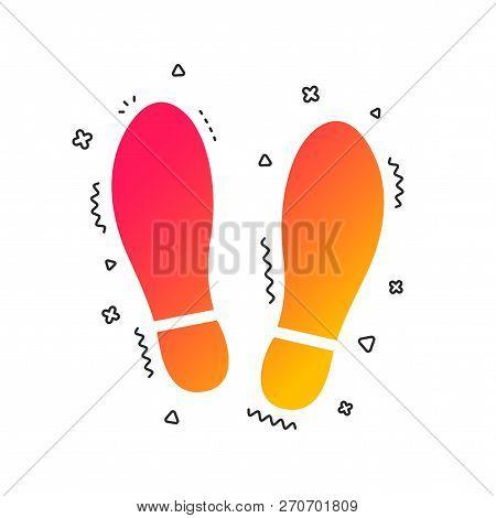 Imprint Soles Shoes Sign Icon. Shoe Print Symbol. Colorful Geometric Shapes. Gradient Shoes Icon Des