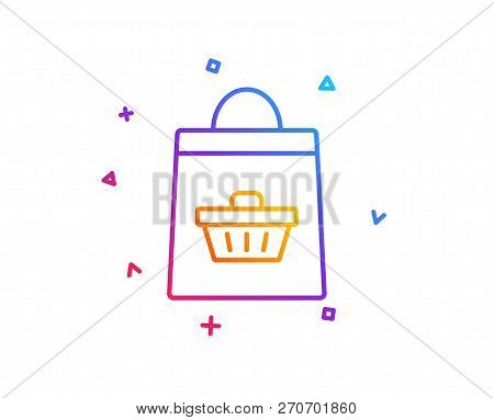 Shopping Bag With Cart Line Icon. Supermarket Buying Sign. Sale Symbol. Gradient Line Button. Online