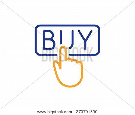 Click To Buy Line Icon. Online Shopping Sign. E-commerce Processing Symbol. Colorful Outline Concept