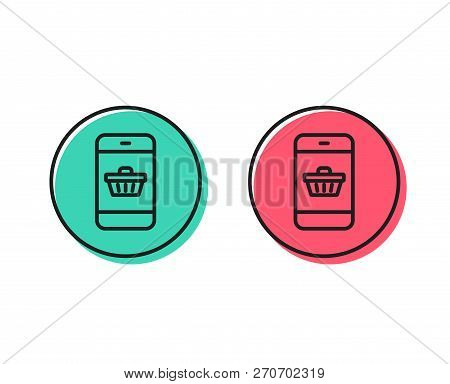 Mobile Shopping Cart Line Icon. Smartphone Online Buying Sign. Supermarket Basket Symbol. Positive A