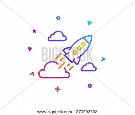 Startup Rocket Line Icon. Launch Project Sign. Innovation Symbol. Gradient Line Button. Startup Rock