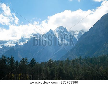 Snow Covered Mountain Peaks At Jade Dragon Snow Mountain. Snow Mountain Landscape.