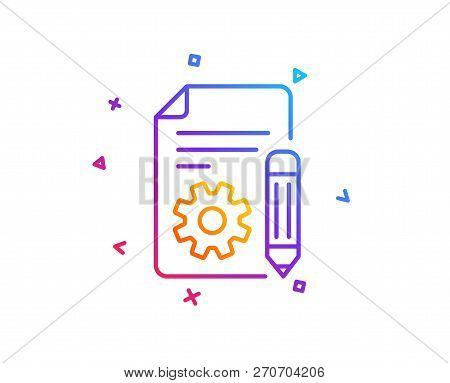 Documentation Line Icon. Technical Instruction Sign. Gradient Line Button. Documentation Icon Design