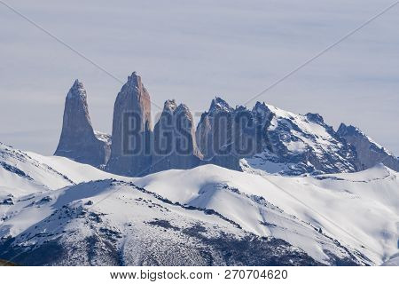 Close-up View Of The Granite Towers At Torres Del Paine National Park Of Chile