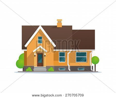 Vector Illustration Cartoon Residential Townhouse. Image Townhouse Isolated On White Background. Con