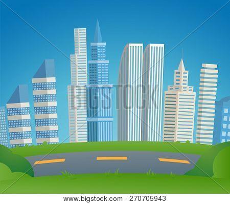 Vector Illustration Cartoon Cityscape Metropolis. Image Automobile City Road On Background Cityscape