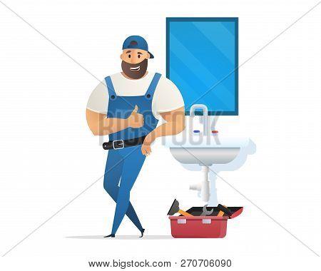 Vector Illustration Concept Plumber Service. Vector Image Cartoon Character Plumber In Blue Uniform