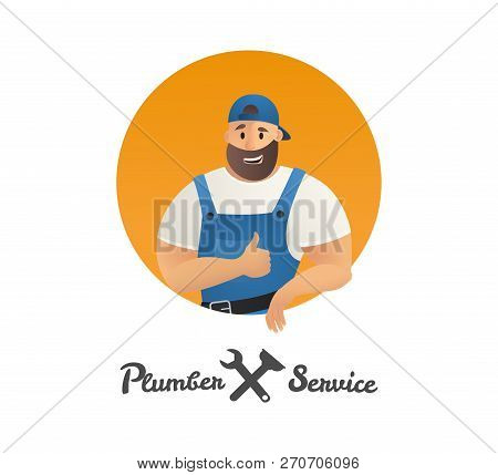 Vector Illustration Concept Plumber Service. Vector Image Cartoon Character Plumber Holding Finger U