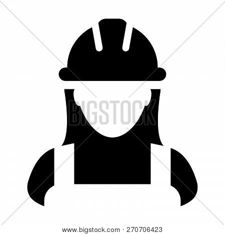 Service worker icon vector female construction service person profile avatar with hardhat helmet in glyph pictogram illustration poster