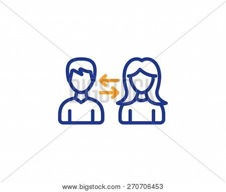 Teamwork Line Icon. Users Communication. Male And Female Profiles Sign. Person Silhouette Symbol. Co