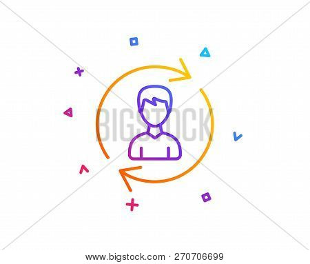 Human Resources Line Icon. User Profile Sign. Male Person Silhouette Symbol. Refresh Or Update Sign.