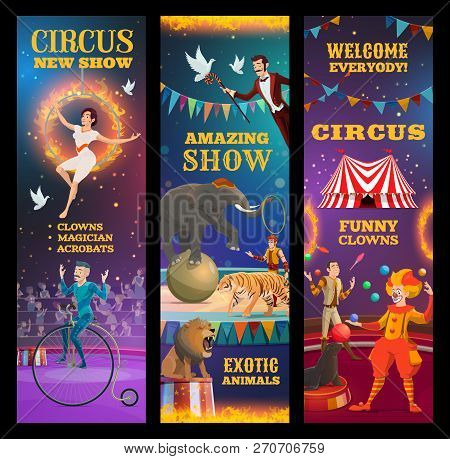 Circus Show, Vector Invitation To Amazing Performance Of Clown, Trained Animals And Magician, Juggle