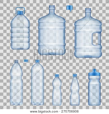 Water Bottles, Capacious And Portable, Sportive With Dispenser. Realistic Vector Empty Plastic Conta