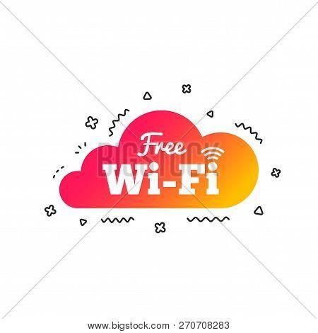 Free Wifi Sign. Wifi Symbol. Wireless Network Icon. Wifi Zone. Colorful Geometric Shapes. Gradient W