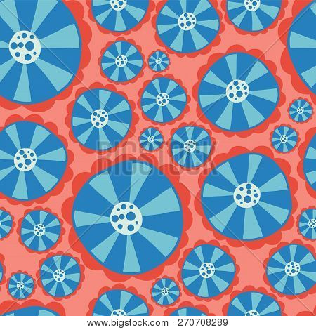 Hippie Flowers. Flower Power Seamless Vector Background. Blue And Red Abstract Flowers On A Pink Bac