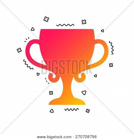 Winner Cup Sign Icon. Awarding Of Winners Symbol. Trophy. Colorful Geometric Shapes. Gradient Winner