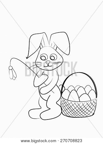 Easter Coloring. Black And White Raster Illustration For Coloring Book.easter Bunny With A Snowdrop