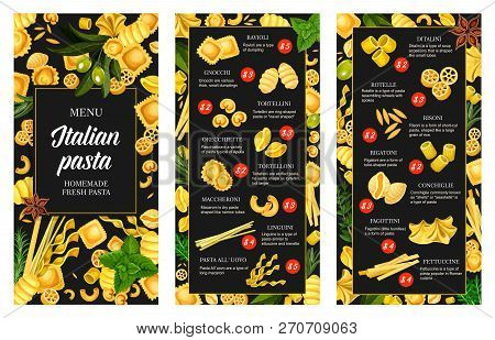 Italian Pasta Menu, Seasonings And Spice. Vector Ravioli And Gnocchi, Tortellini, Orecchiette And To
