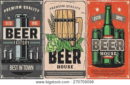 Brewery Factory, Vector Craft Or Draught Beer In Wooden Mug, Bottle Or Can. Hop, Malt And Wheat Low