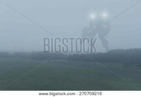 Sci-fi Military Giant Battle Machine. Humanoid Robot In Apocalypse Countryside. Dystopia, Science Fi