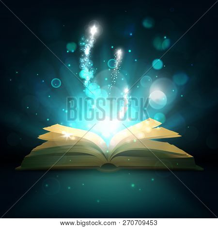 Magic Book With Light Sparkles And Shine. Vector Fairy Tale Book With Open Pages, Magic Shiny Stars