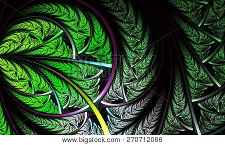 Beautiful Fractal Flower Or Butterfly In Stained Glass Window Style. Symmetrical Floral Fractal, Dig