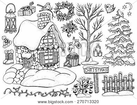 Vector Design Set With Christmas And New Year Cottage House With Winter Tree, Conifer, Decorations,