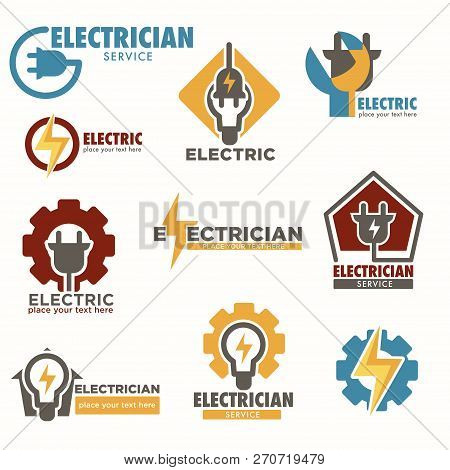 Electrician Service And Electric Sockets With Bulbs Logos Set