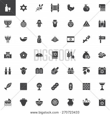 Judaism Vector Icons Set, Modern Solid Symbol Collection, Filled Style Pictogram Pack. Signs, Logo I
