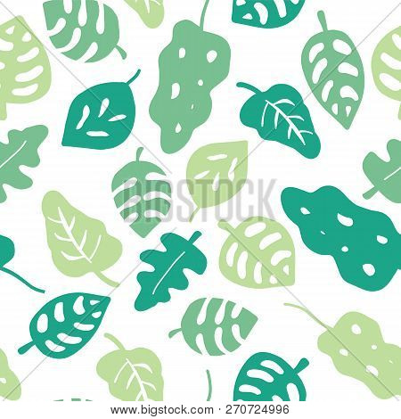Seamless Vector Background Green Leaves. Leaves In Shades Of Green On A White Background. Hand Drawn