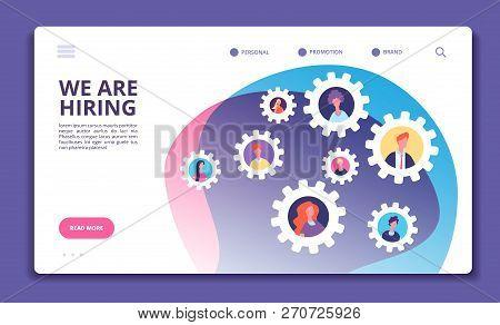 We Are Hiring Concept. Finding Employee. Hr Job Seeking. Open Vacancy And Recruitment Vector Banner.