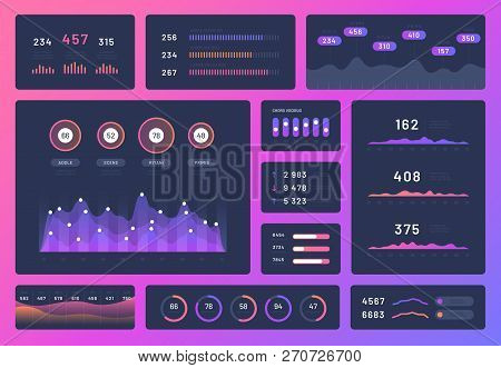 Dashboard Ui. Mobile App User Interface Ux Design Kit. Infographics Admin Panel With Graphs, Chart A