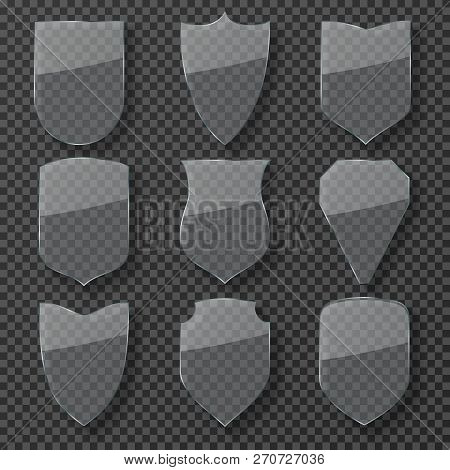 Glass Safety Shield. Transparent Shiny Protection Shields. Guardian Glass Badges With Refraction Iso