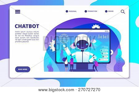 Chatbot Landing Page. Ai Robot Chatting With Woman And Man. Artificial Intelligence Presentation Vec