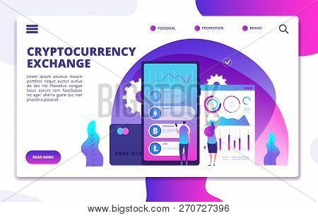Cryptocurrency Exchange Landing Page. Online Crypto Payment. Business Marketplace Web Vector Design.